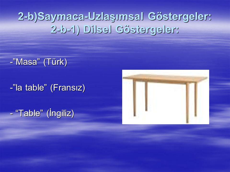 """2-b)Saymaca-Uzlaşımsal Göstergeler: 2-b-1) Dilsel Göstergeler: -""""Masa"""" (Türk) -""""la table"""" (Fransız) - """"Table"""" (İngiliz)"""