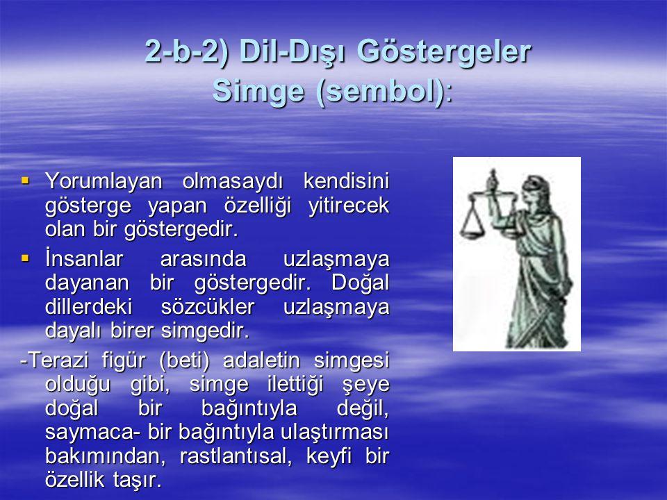 2-b-2) Dil-Dışı Göstergeler Simge (sembol): 2-b-2) Dil-Dışı Göstergeler Simge (sembol):  Yorumlayan olmasaydı kendisini gösterge yapan özelliği yitir