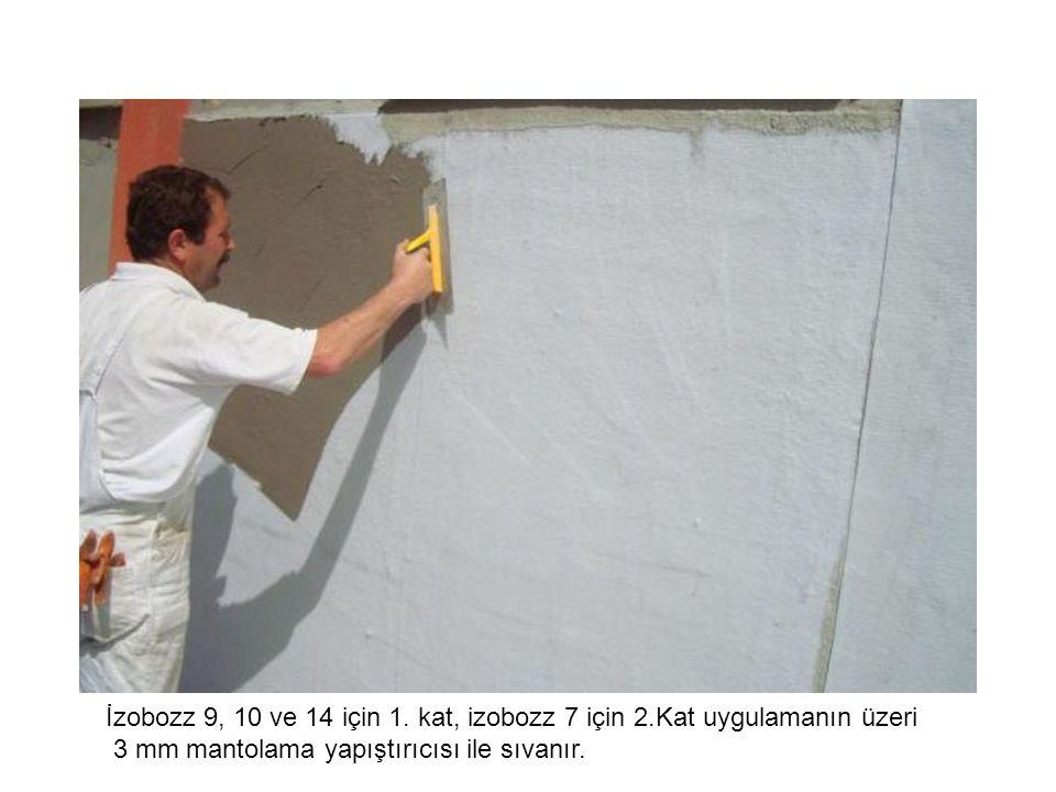 İzobozz 9, 10 ve 14 için 1. kat, izobozz 7 için 2.Kat uygulamanın üzeri 3 mm mantolama yapıştırıcısı ile sıvanır.