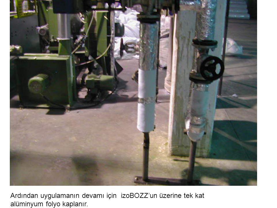 Ardından uygulamanın devamı için izoBOZZ'un üzerine tek kat alüminyum folyo kaplanır.