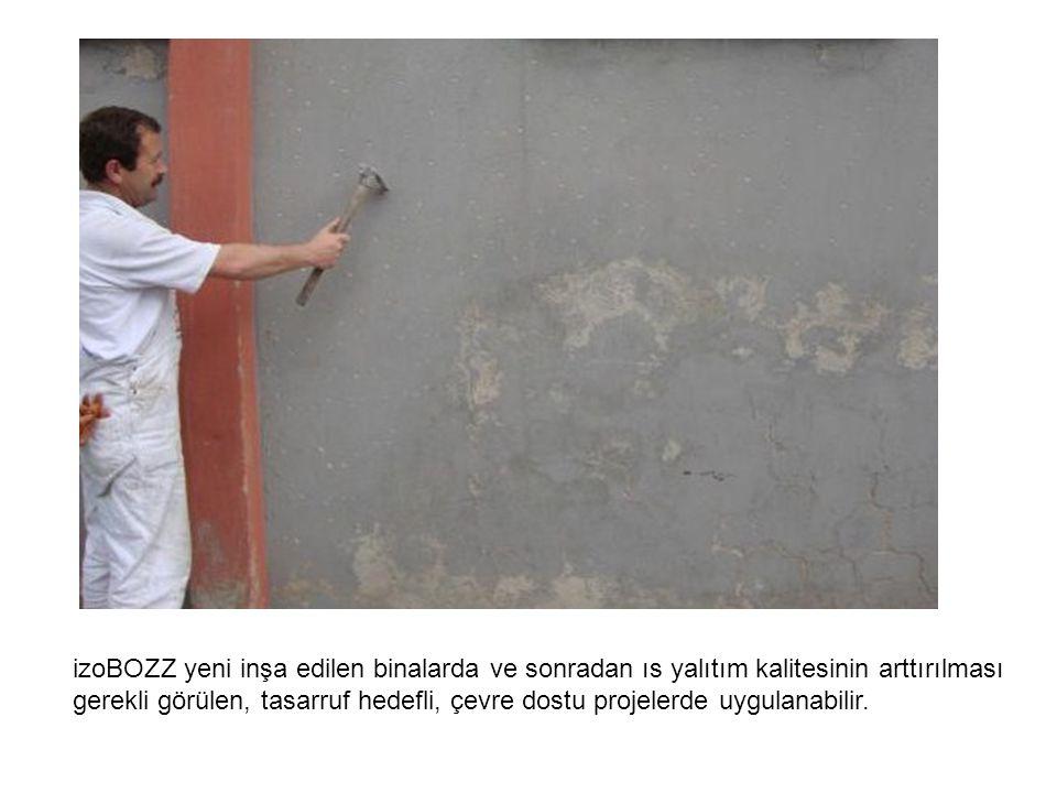Kaba sıvası yapılmış duvara veya boyalı duvar üzeri mantolama yapıştırıcısı ile sıvanmaya başlanır.