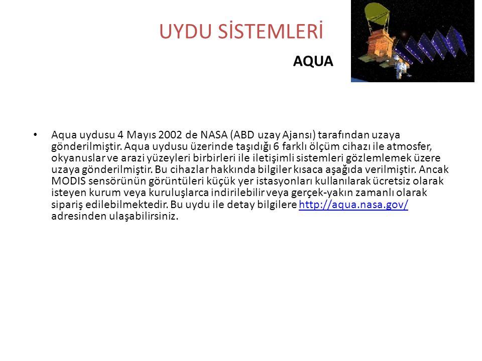 UYDU SİSTEMLERİ AQUA • Aqua uydusu 4 Mayıs 2002 de NASA (ABD uzay Ajansı) tarafından uzaya gönderilmiştir. Aqua uydusu üzerinde taşıdığı 6 farklı ölçü
