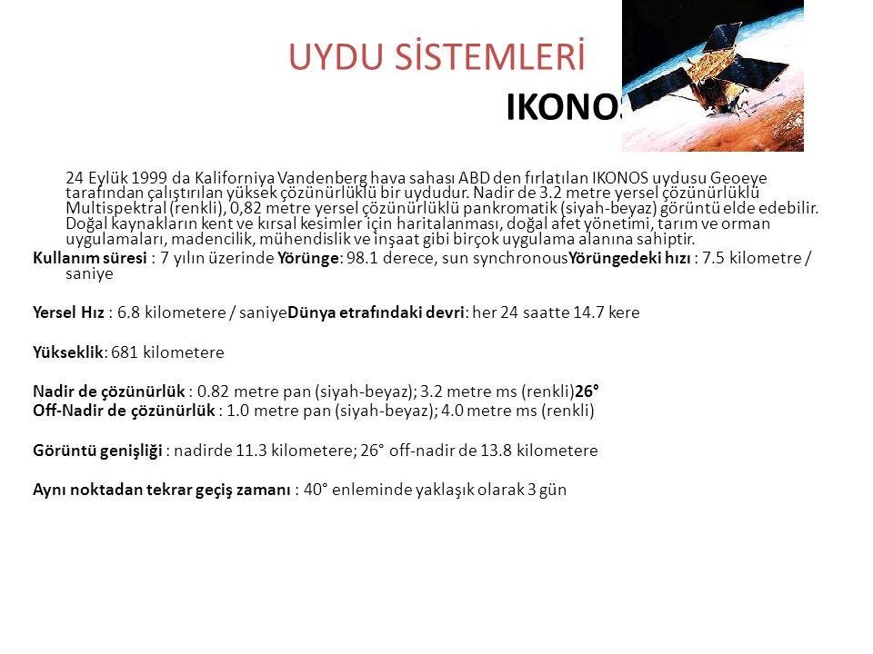 UYDU SİSTEMLERİ IKONOS 24 Eylük 1999 da Kaliforniya Vandenberg hava sahası ABD den fırlatılan IKONOS uydusu Geoeye tarafından çalıştırılan yüksek çözü