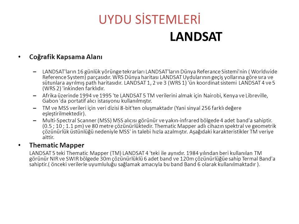 UYDU SİSTEMLERİ LANDSAT • Coğrafik Kapsama Alanı – LANDSAT'ların 16 günlük yörünge tekrarları LANDSAT'ların Dünya Referance Sistemi'nin ( Worldwide Re
