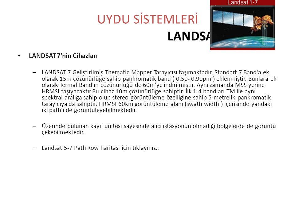 UYDU SİSTEMLERİ LANDSAT • LANDSAT 7'nin Cihazları – LANDSAT 7 Geliştirilmiş Thematic Mapper Tarayıcısı taşımaktadır. Standart 7 Band'a ek olarak 15m ç