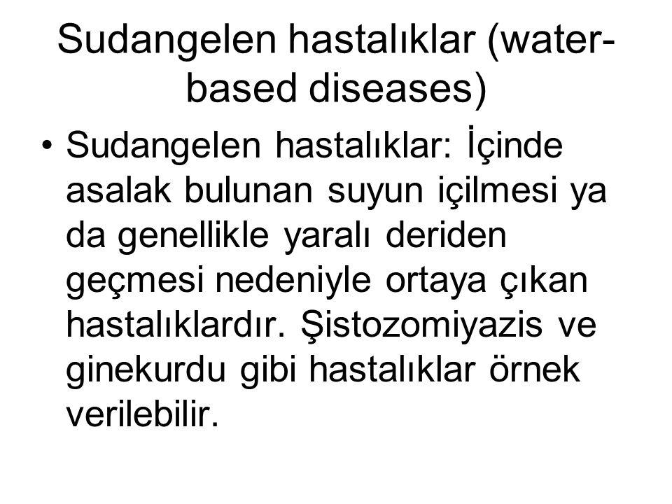 Sudangelen hastalıklar (water- based diseases) •Sudangelen hastalıklar: İçinde asalak bulunan suyun içilmesi ya da genellikle yaralı deriden geçmesi n