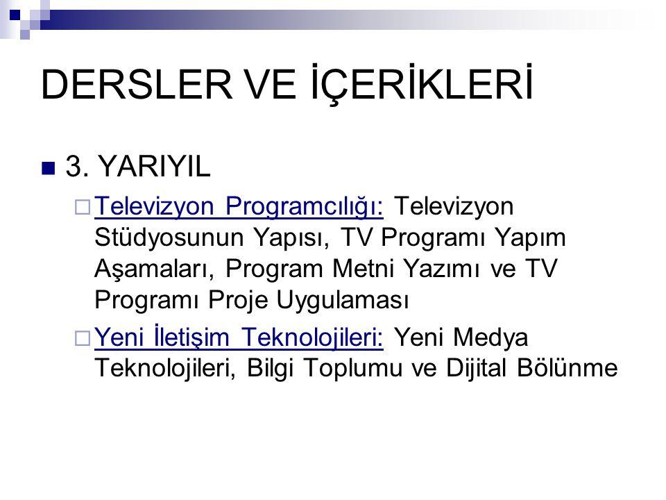 DERSLER VE İÇERİKLERİ  3.