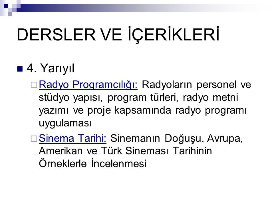 DERSLER VE İÇERİKLERİ  4.