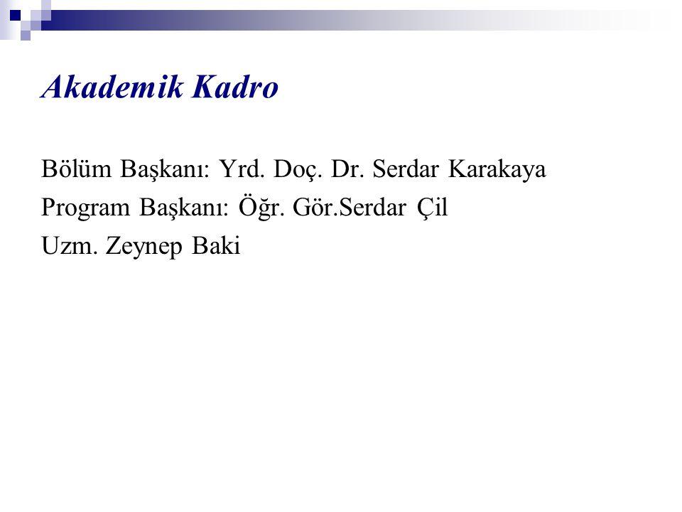 Akademik Kadro Bölüm Başkanı: Yrd.Doç. Dr. Serdar Karakaya Program Başkanı: Öğr.
