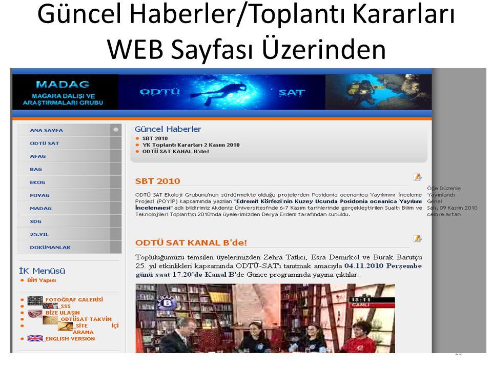 Güncel Haberler/Toplantı Kararları WEB Sayfası Üzerinden 15