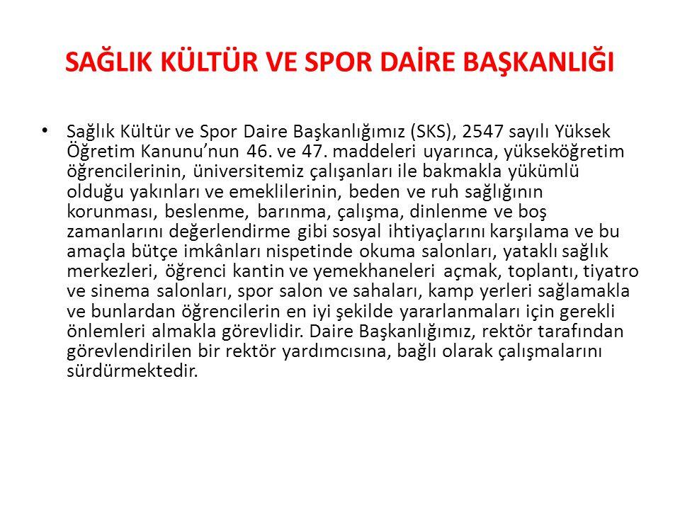 Sosyal ve Kültür Hizmetleri: • Üniversitemizde, SKS Daire Başkanlığı'na bağlı 41 aktif öğrenci kulübü bulunmaktadır.
