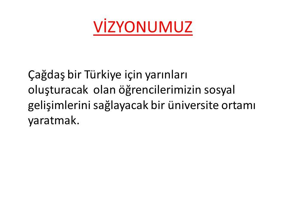 VİZYONUMUZ Çağdaş bir Türkiye için yarınları oluşturacak olan öğrencilerimizin sosyal gelişimlerini sağlayacak bir üniversite ortamı yaratmak.