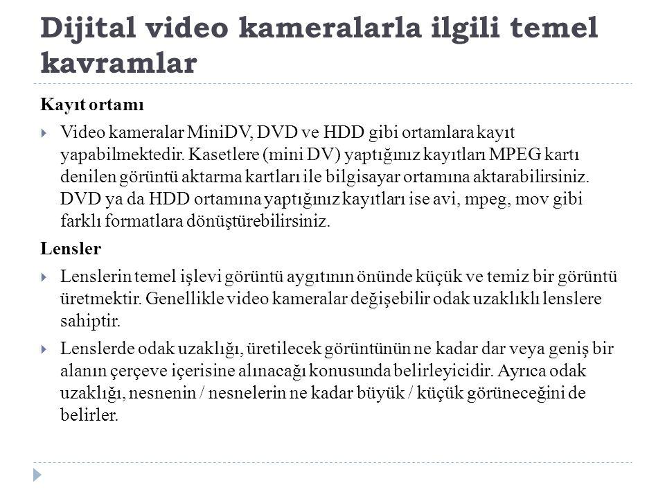 Dijital video kameralarla ilgili temel kavramlar Kayıt ortamı  Video kameralar MiniDV, DVD ve HDD gibi ortamlara kayıt yapabilmektedir.