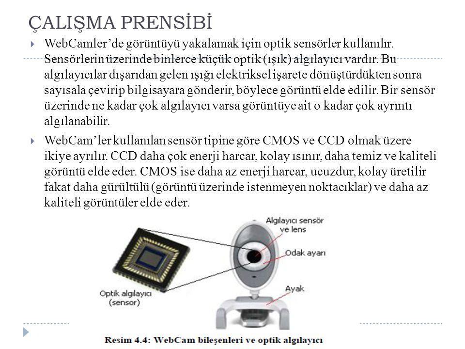 ÇALIŞMA PRENSİBİ  WebCamler'de görüntüyü yakalamak için optik sensörler kullanılır.