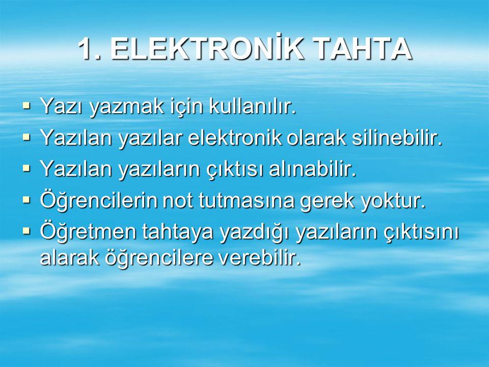  Yazı yazmak için kullanılır. Yazılan yazılar elektronik olarak silinebilir.