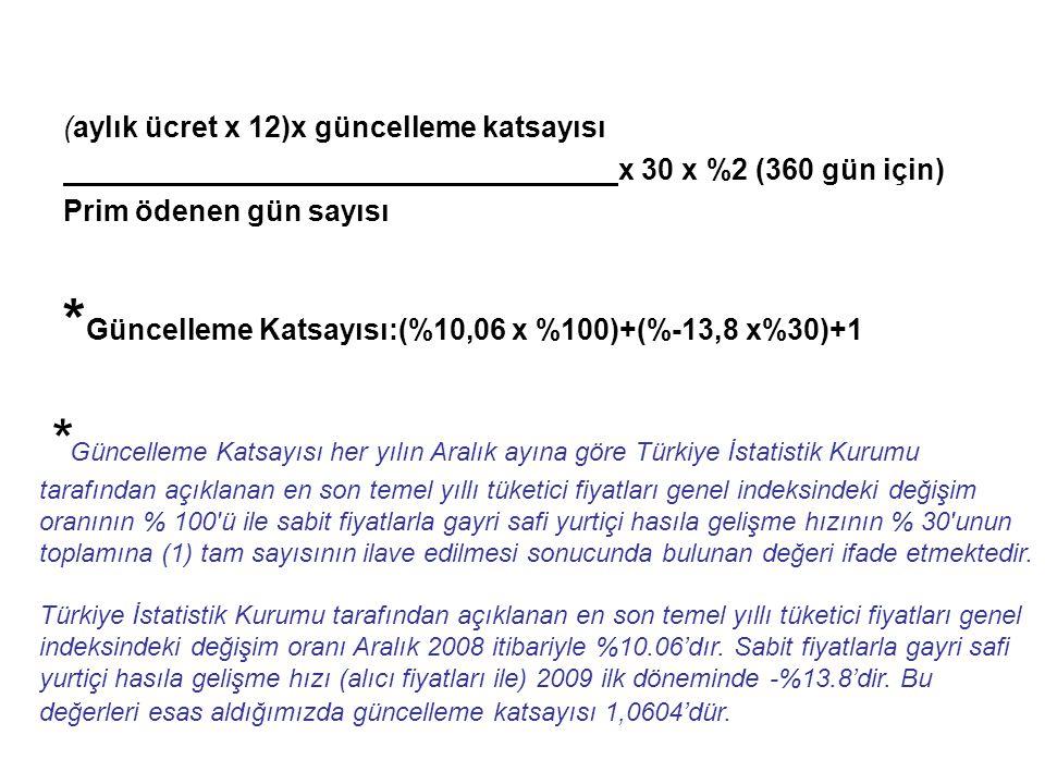 (aylık ücret x 12)x güncelleme katsayısı x 30 x %2 (360 gün için) Prim ödenen gün sayısı * Güncelleme Katsayısı:(%10,06 x %100)+(%-13,8 x%30)+1 * Güncelleme Katsayısı her yılın Aralık ayına göre Türkiye İstatistik Kurumu tarafından açıklanan en son temel yıllı tüketici fiyatları genel indeksindeki değişim oranının % 100 ü ile sabit fiyatlarla gayri safi yurtiçi hasıla gelişme hızının % 30 unun toplamına (1) tam sayısının ilave edilmesi sonucunda bulunan değeri ifade etmektedir.