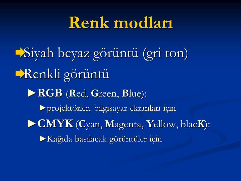 Renk modları  Siyah beyaz görüntü (gri ton)  Renkli görüntü ► RGB (Red, Green, Blue): ► projektörler, bilgisayar ekranları için ► CMYK (Cyan, Magent