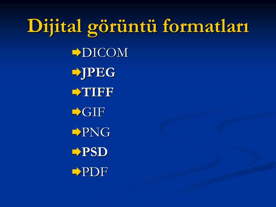 Dijital görüntü formatları  DICOM  JPEG  TIFF  GIF  PNG  PSD  PDF