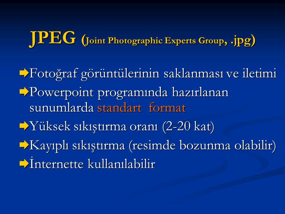 JPEG ( Joint Photographic Experts Group,.jpg )  Fotoğraf görüntülerinin saklanması ve iletimi  Powerpoint programında hazırlanan sunumlarda standart