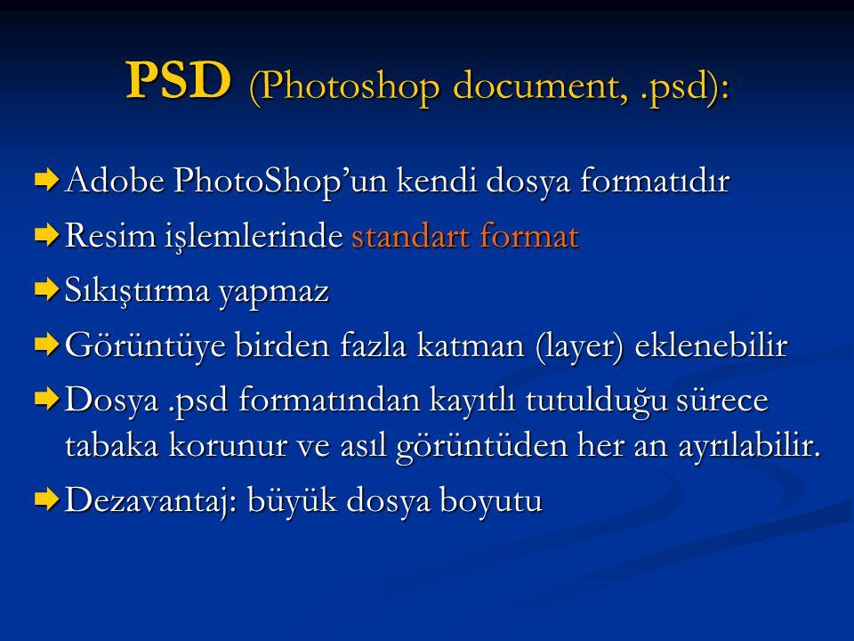 PSD (Photoshop document,.psd):  Adobe PhotoShop'un kendi dosya formatıdır  Resim işlemlerinde standart format  Sıkıştırma yapmaz  Görüntüye birden