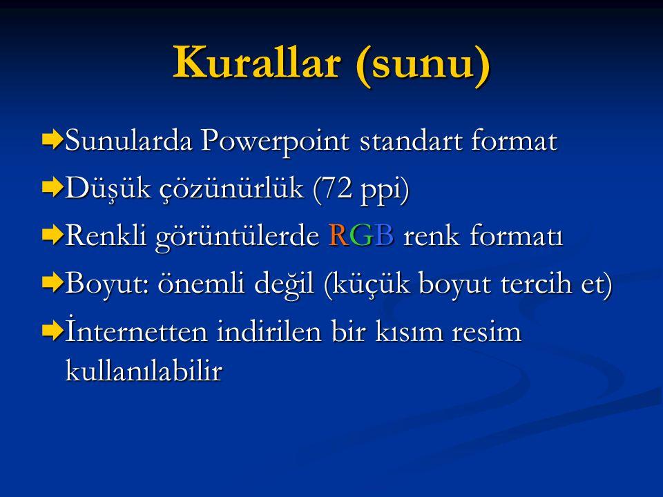Kurallar (sunu)  Sunularda Powerpoint standart format  Düşük çözünürlük (72 ppi)  Renkli görüntülerde RGB renk formatı  Boyut: önemli değil (küçük
