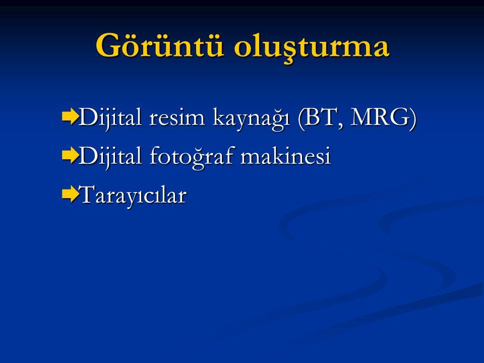 Görüntü oluşturma  Dijital resim kaynağı (BT, MRG)  Dijital fotoğraf makinesi  Tarayıcılar