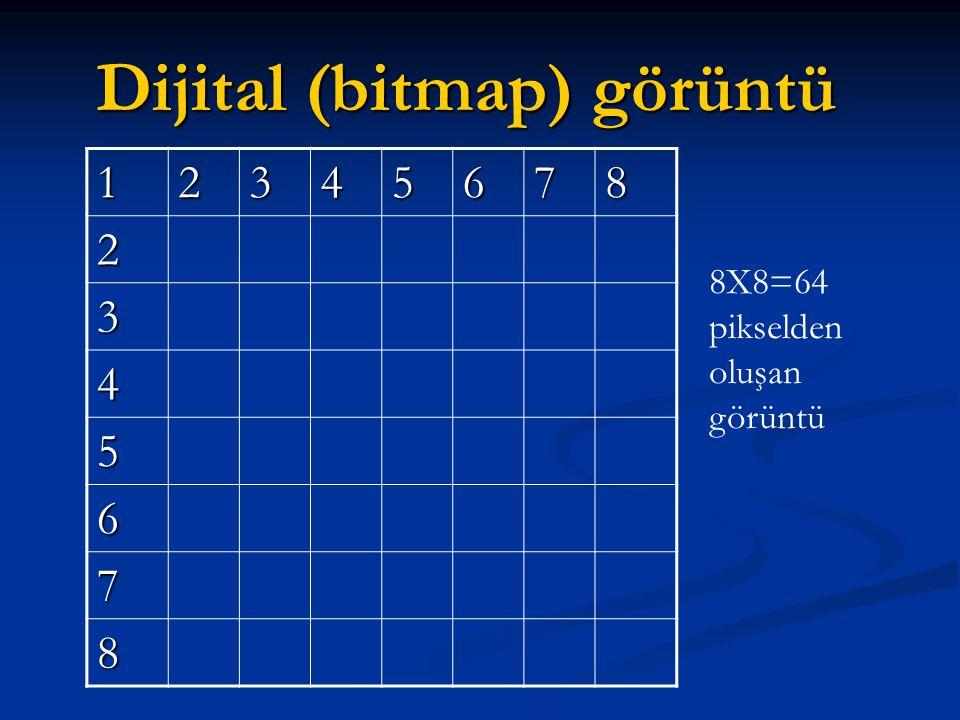Dijital (bitmap) görüntü 12345678 2 3 4 5 6 7 8 8X8=64 pikselden oluşan görüntü