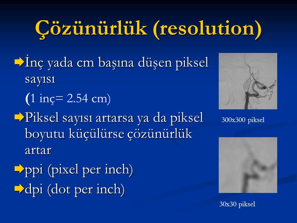Çözünürlük (resolution)  İnç yada cm başına düşen piksel sayısı ( 1 inç= 2.54 cm)  Piksel sayısı artarsa ya da piksel boyutu küçülürse çözünürlük ar