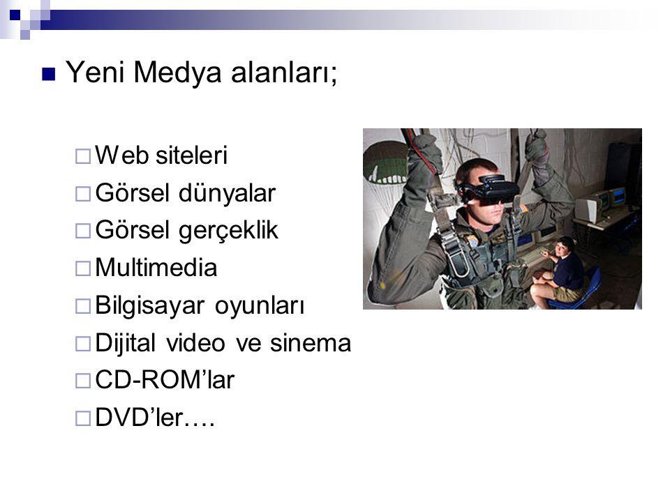  Yeni Medya alanları;  Web siteleri  Görsel dünyalar  Görsel gerçeklik  Multimedia  Bilgisayar oyunları  Dijital video ve sinema  CD-ROM'lar 