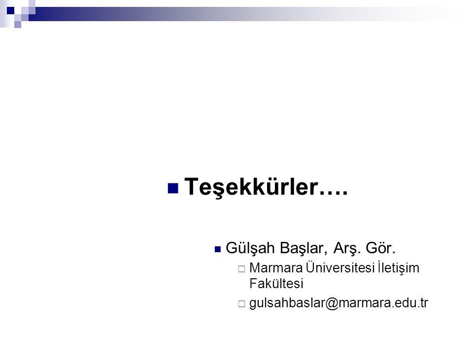  Teşekkürler….  Gülşah Başlar, Arş. Gör.  Marmara Üniversitesi İletişim Fakültesi  gulsahbaslar@marmara.edu.tr