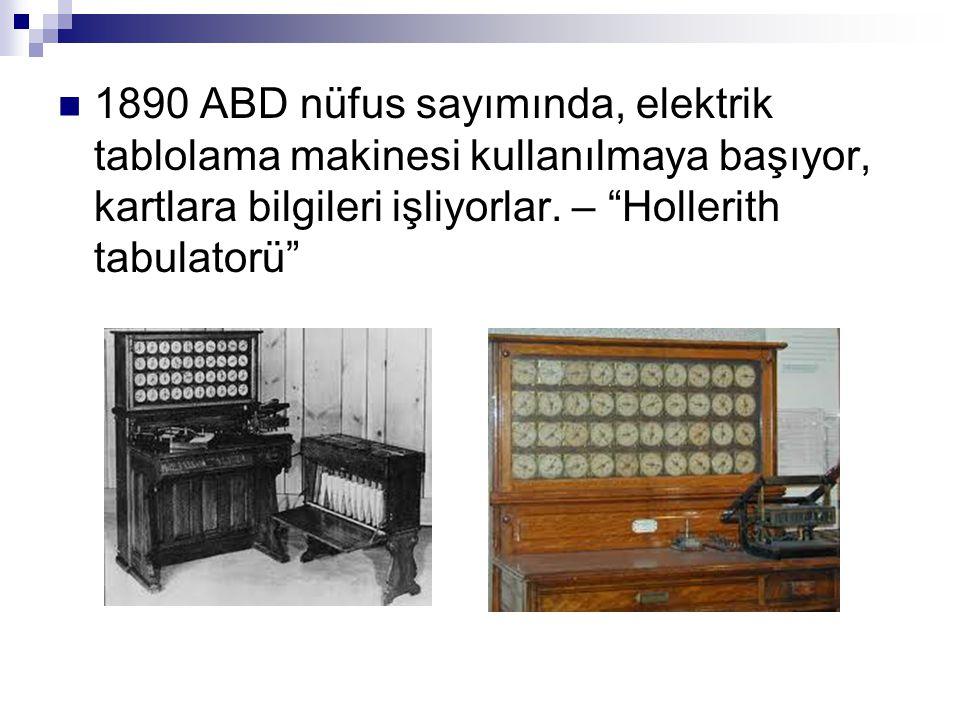 """ 1890 ABD nüfus sayımında, elektrik tablolama makinesi kullanılmaya başıyor, kartlara bilgileri işliyorlar. – """"Hollerith tabulatorü"""""""