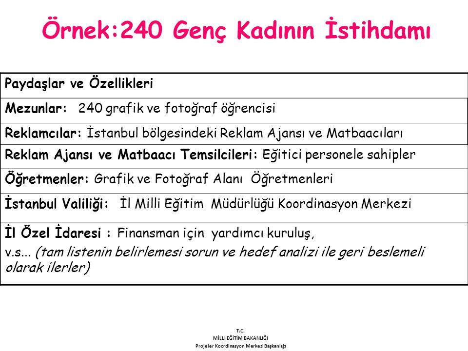 Örnek:240 Genç Kadının İstihdamı Paydaşlar ve Özellikleri Mezunlar: 240 grafik ve fotoğraf öğrencisi Reklamcılar: İstanbul bölgesindeki Reklam Ajansı
