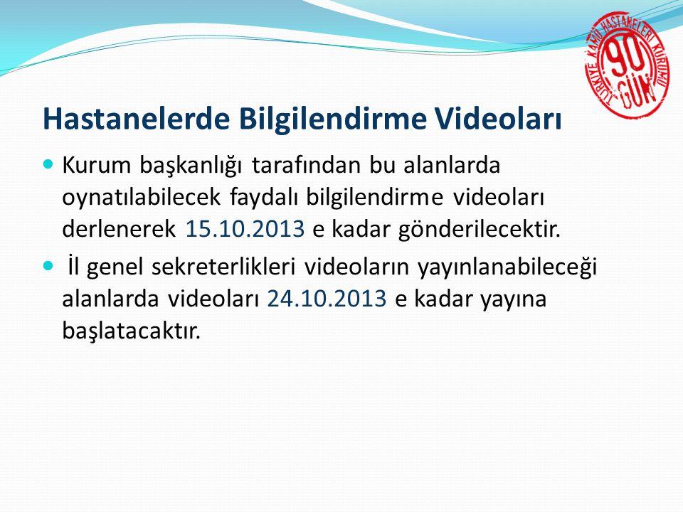 Hastanelerde Bilgilendirme Videoları  Kurum başkanlığı tarafından bu alanlarda oynatılabilecek faydalı bilgilendirme videoları derlenerek 15.10.2013 e kadar gönderilecektir.