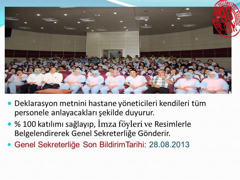90 Gün Çalışmasının Web Sitelerinde Duyurulması  Kurum tarafından açıklanan format Hastane Yöneticileri ve İdari Mali Hizmetler Müdürleri tarafından Web sitelerine 23.08.2013 tarihine kadar konulacaktır.