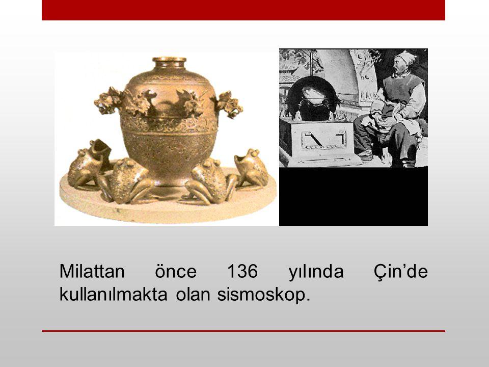 Milattan önce 136 yılında Çin'de kullanılmakta olan sismoskop.