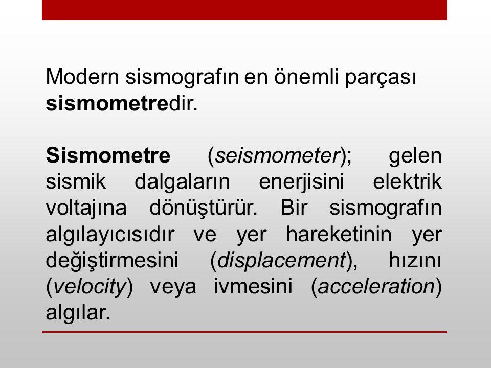 Modern sismografın en önemli parçası sismometredir. Sismometre (seismometer); gelen sismik dalgaların enerjisini elektrik voltajına dönüştürür. Bir si