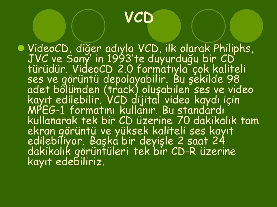 VCD  VideoCD, diğer adıyla VCD, ilk olarak Philiphs, JVC ve Sony' in 1993'te duyurduğu bir CD türüdür. VideoCD 2.0 formatıyla çok kaliteli ses ve gör