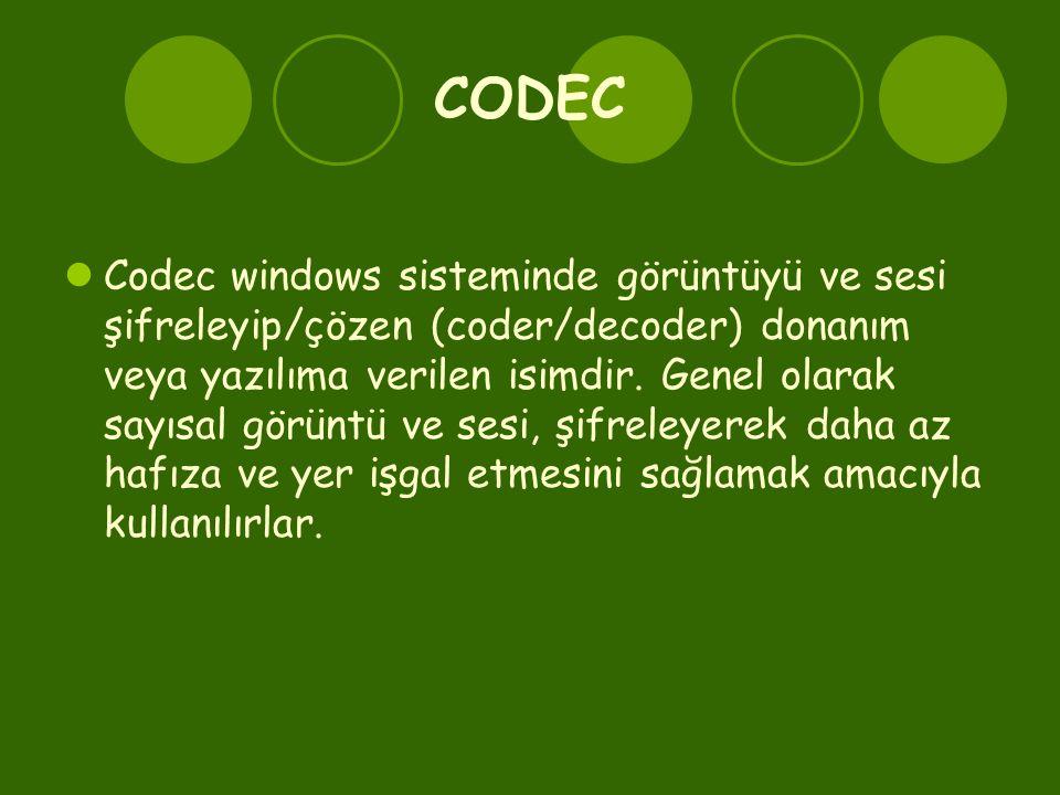 CODEC  Codec windows sisteminde görüntüyü ve sesi şifreleyip/çözen (coder/decoder) donanım veya yazılıma verilen isimdir. Genel olarak sayısal görünt