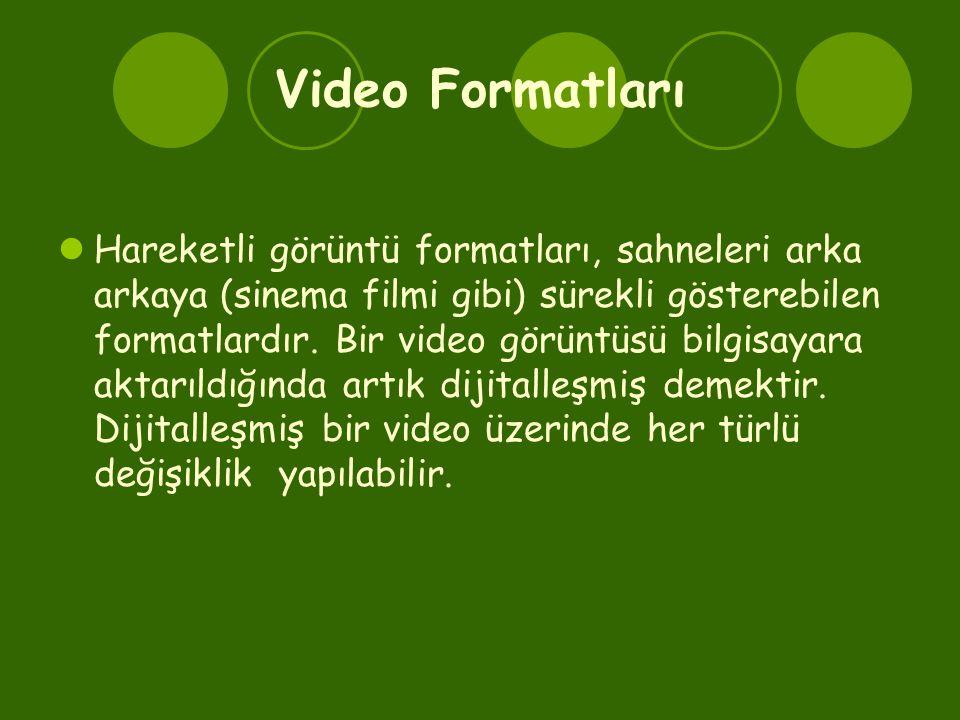 Video Formatları  Hareketli görüntü formatları, sahneleri arka arkaya (sinema filmi gibi) sürekli gösterebilen formatlardır. Bir video görüntüsü bilg