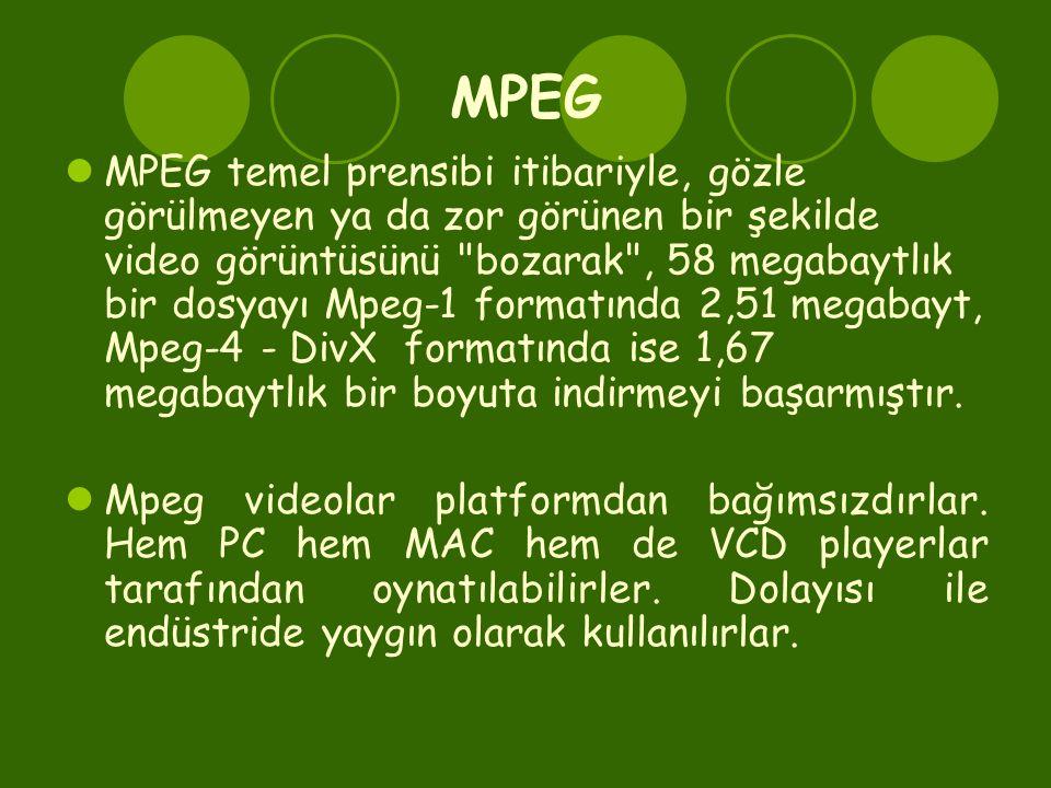 MPEG  MPEG temel prensibi itibariyle, gözle görülmeyen ya da zor görünen bir şekilde video görüntüsünü bozarak , 58 megabaytlık bir dosyayı Mpeg-1 formatında 2,51 megabayt, Mpeg-4 - DivX formatında ise 1,67 megabaytlık bir boyuta indirmeyi başarmıştır.