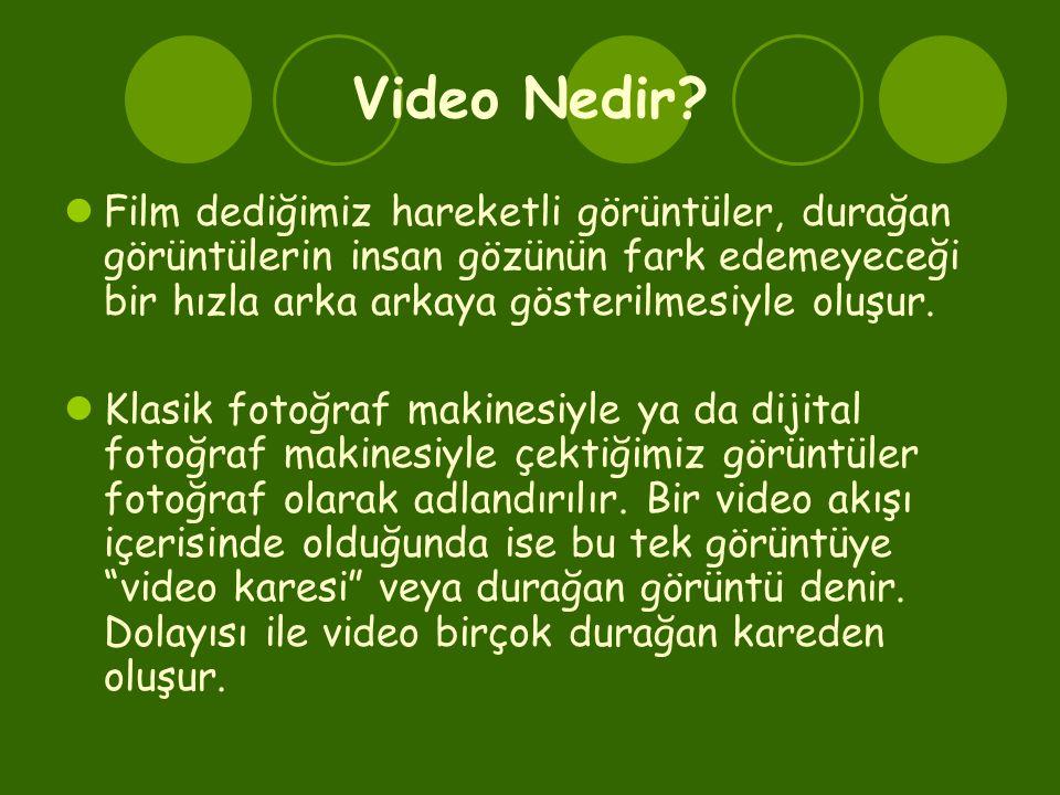 Video Nedir?  Film dediğimiz hareketli görüntüler, durağan görüntülerin insan gözünün fark edemeyeceği bir hızla arka arkaya gösterilmesiyle oluşur.