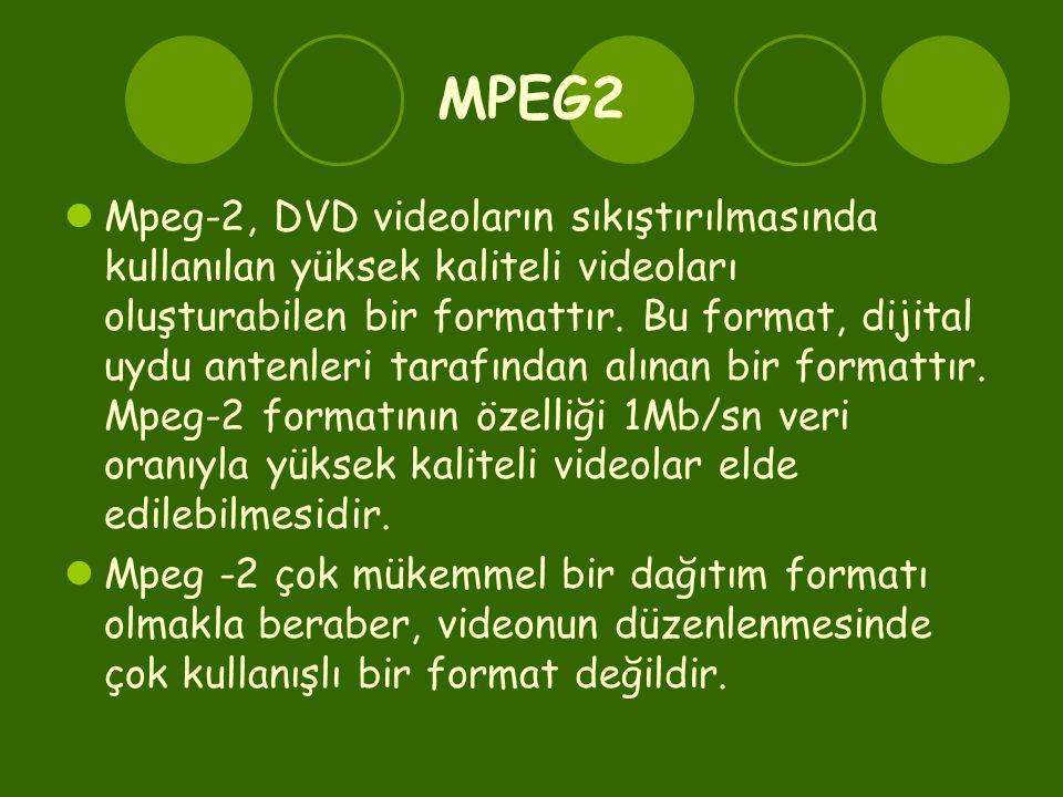 MPEG2  Mpeg-2, DVD videoların sıkıştırılmasında kullanılan yüksek kaliteli videoları oluşturabilen bir formattır.