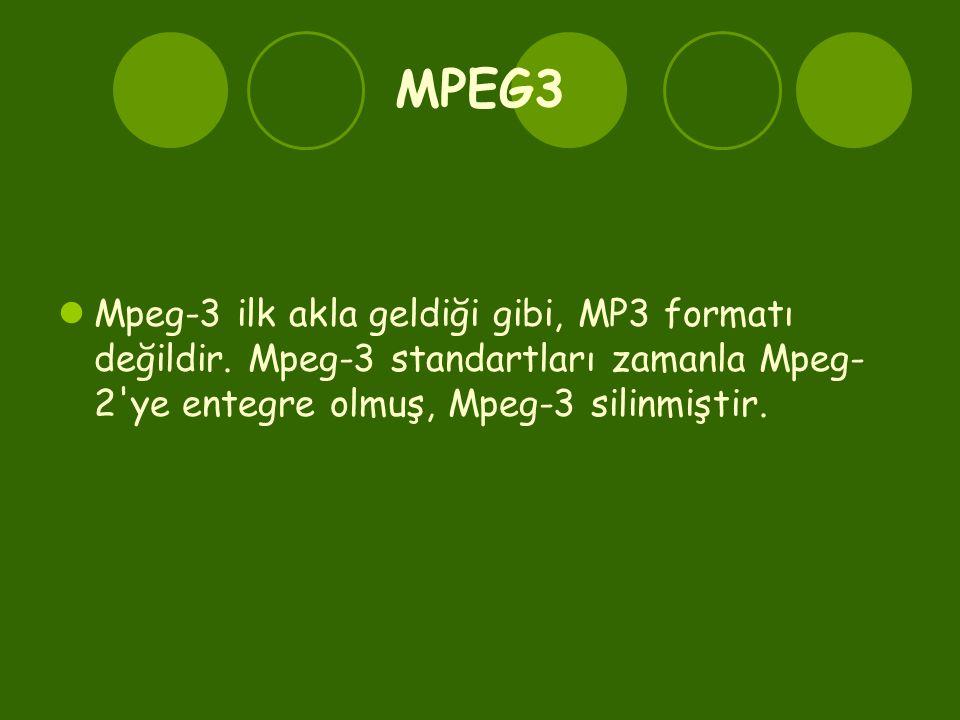 MPEG3  Mpeg-3 ilk akla geldiği gibi, MP3 formatı değildir. Mpeg-3 standartları zamanla Mpeg- 2'ye entegre olmuş, Mpeg-3 silinmiştir.