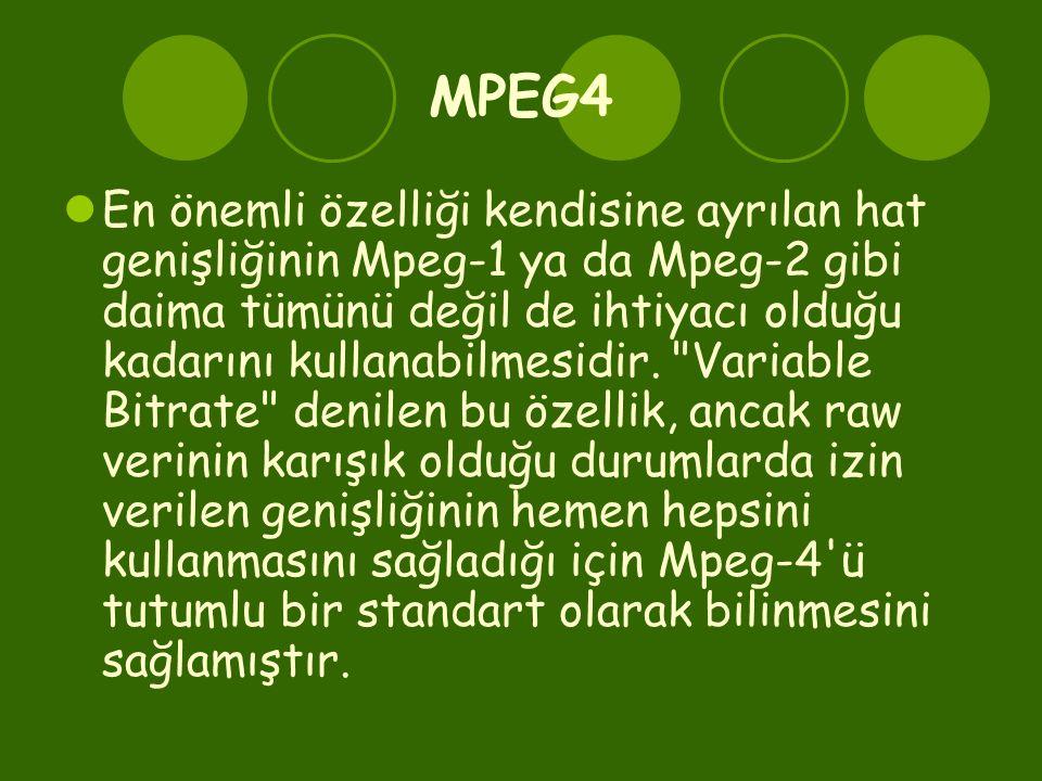 MPEG4  En önemli özelliği kendisine ayrılan hat genişliğinin Mpeg-1 ya da Mpeg-2 gibi daima tümünü değil de ihtiyacı olduğu kadarını kullanabilmesidir.