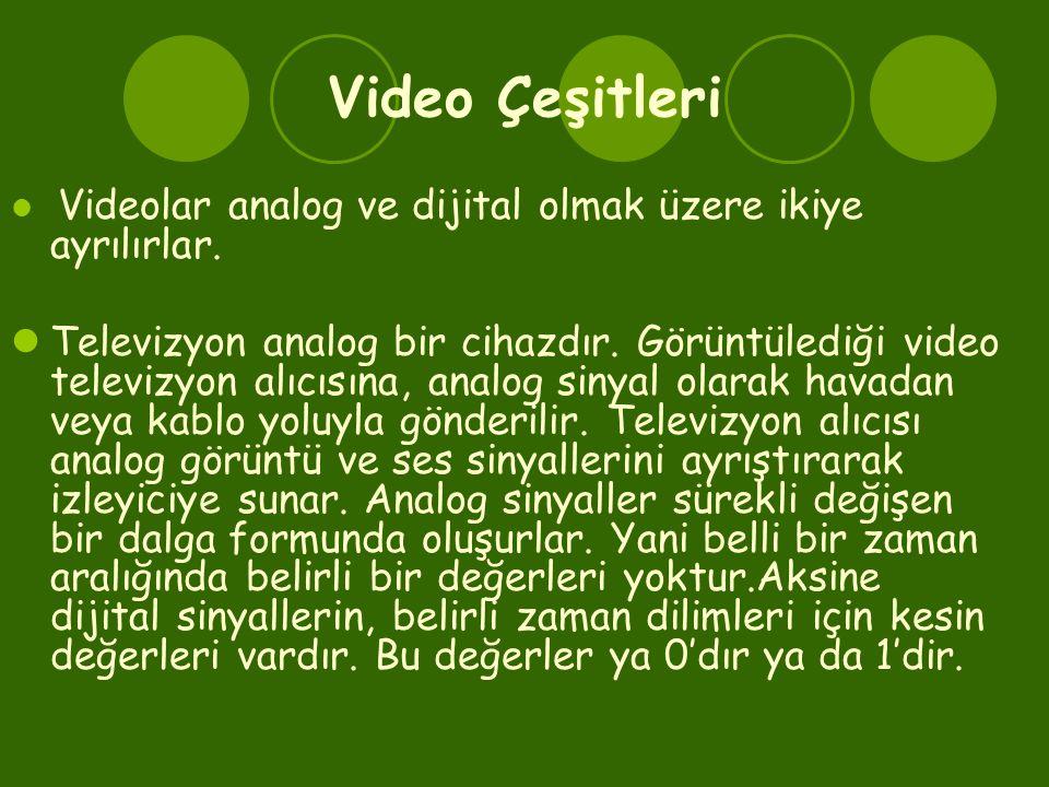 Video Çeşitleri  Videolar analog ve dijital olmak üzere ikiye ayrılırlar.  Televizyon analog bir cihazdır. Görüntülediği video televizyon alıcısına,