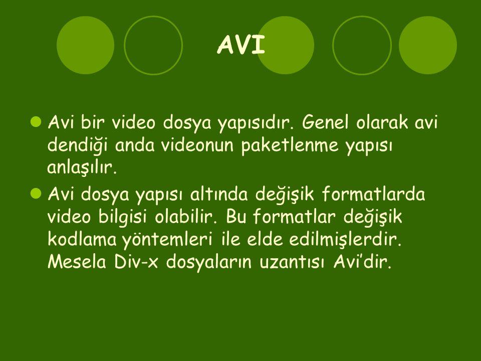 AVI  Avi bir video dosya yapısıdır. Genel olarak avi dendiği anda videonun paketlenme yapısı anlaşılır.  Avi dosya yapısı altında değişik formatlard