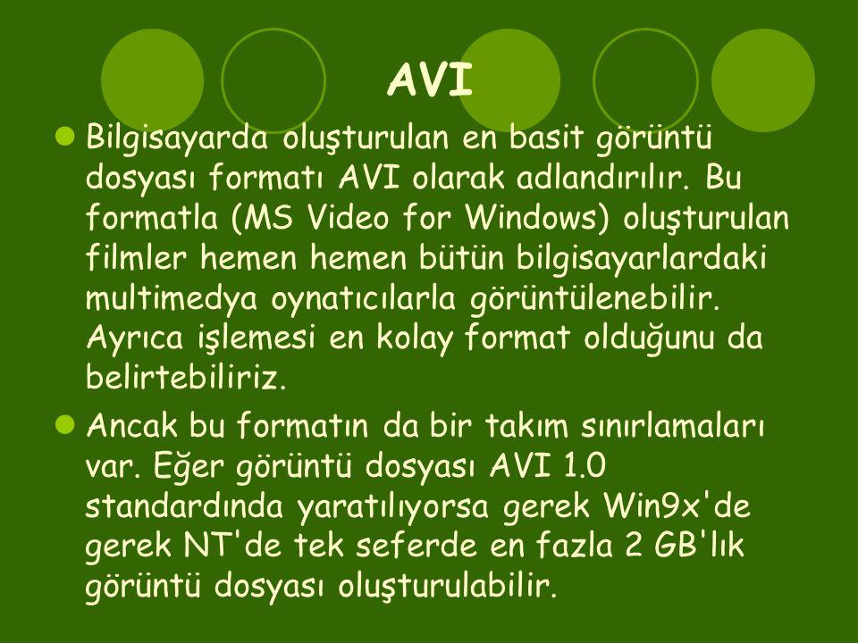 AVI  Bilgisayarda oluşturulan en basit görüntü dosyası formatı AVI olarak adlandırılır. Bu formatla (MS Video for Windows) oluşturulan filmler hemen