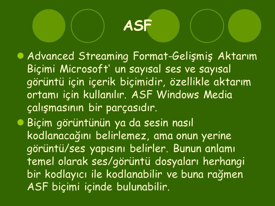 ASF  Advanced Streaming Format-Gelişmiş Aktarım Biçimi Microsoft' un sayısal ses ve sayısal görüntü için içerik biçimidir, özellikle aktarım ortamı için kullanılır.