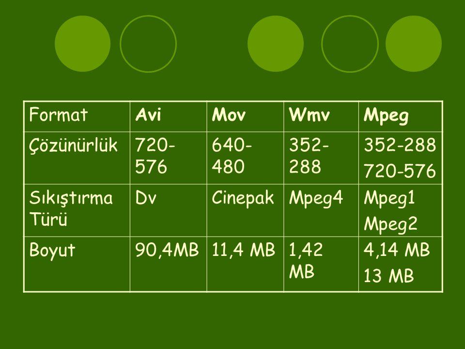 FormatAviMovWmvMpeg Çözünürlük720- 576 640- 480 352- 288 720-576 Sıkıştırma Türü DvCinepakMpeg4Mpeg1 Mpeg2 Boyut90,4MB11,4 MB1,42 MB 4,14 MB 13 MB