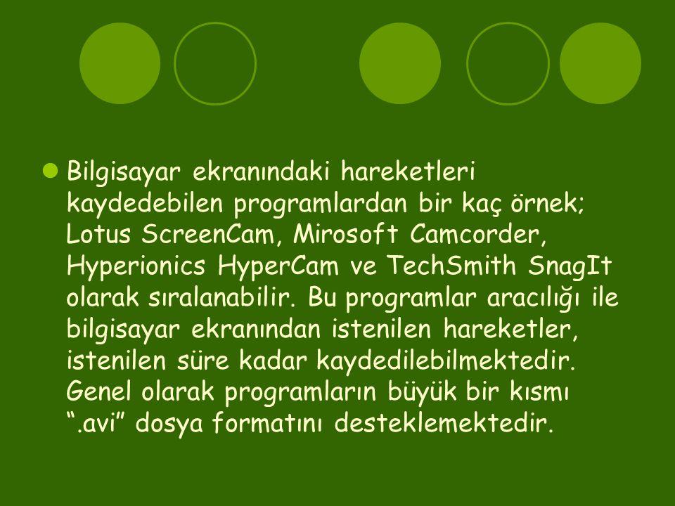  Bilgisayar ekranındaki hareketleri kaydedebilen programlardan bir kaç örnek; Lotus ScreenCam, Mirosoft Camcorder, Hyperionics HyperCam ve TechSmith